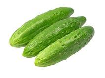 Trzy dojrzałego zielonego ogórka brać zbliżenie odosobniony Obraz Stock