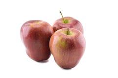 Trzy dojrzały czerwony jabłko Obraz Royalty Free
