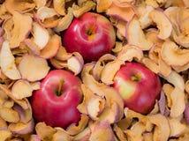 Trzy dojrzały czerwony Apple w stosie wysuszony - owoc Zdjęcia Stock