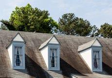 Trzy Dormers na Starym dachu Zdjęcie Royalty Free