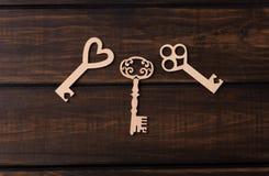 Trzy drewnianego klucza Fotografia Royalty Free