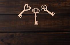 Trzy drewnianego klucza Zdjęcie Stock