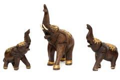 Trzy drewnianej statuy słonie Zdjęcie Royalty Free