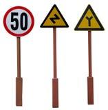 Trzy drogowy znak Zdjęcia Stock