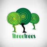Trzy drzew logotyp Ilustracja Wektor