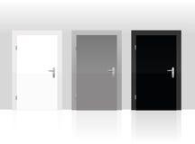 Trzy drzwi Biały Szary czerń Zamykający Obraz Royalty Free