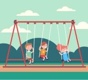 Trzy dzieciak chłopiec, dziewczyna huśta się publicznie parka i ilustracja wektor