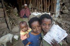 Trzy dziecka, Etiopia fotografia royalty free