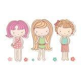 Trzy dziewczyn odosobnionej, wektorowych kreskówki trochę śmiesznych, Zdjęcie Stock