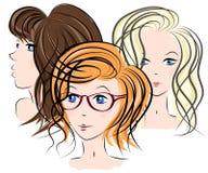 Trzy dziewczyn twarz Zdjęcia Royalty Free