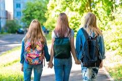 Trzy dziewczyny uczennicy dziewczyny Trzymają each s ` inne ręki Lato w mieście widok z powrotem Chodzą puszek ulica fotografia royalty free