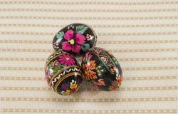 Trzy Easter jajka z tłem Zdjęcia Royalty Free