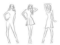 Trzy eleganckiego moda modela ilustracja wektor