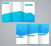 Trzy fałdów broszurki biznesowy szablon z trójbokami, korporacyjną ulotką lub pokrywa projektem, Zdjęcie Stock