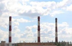Trzy fabrycznego kominu obrazy stock