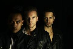 Trzy facetów piękny tajemniczy pozować Zdjęcie Stock