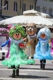 Trzy fantazja charakterów kostiumu karnawałowa maskarada zdjęcia stock