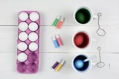 Trzy filiżanki barwidło i jajka z kartonem jajka i pióra dla barwić obrazy royalty free