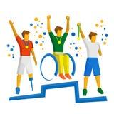 Trzy fizycznie obezwładniający sportowiec z medalem na podium Zdjęcia Royalty Free