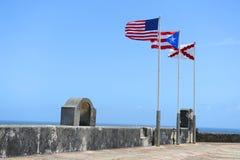 Trzy flaga Latać Obraz Royalty Free