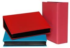 Trzy fotografia albumu menchie, czerwień i błękitny kolor, Fotografia Stock