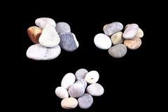 Trzy garści denni kamienie Zdjęcie Royalty Free