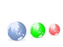 trzy globu świat Obrazy Stock