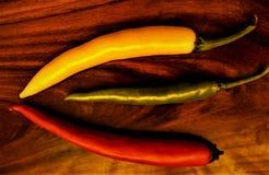 Trzy gorącego pepperoni Fotografia Stock
