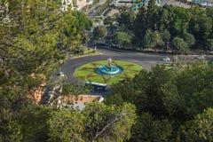 Trzy gracj fontanna w Malaga Malaga, Andalusia, Hiszpania, E fotografia stock