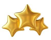 Trzy gwiazd złota hierarchia odizolowywająca na białym tle Fotografia Royalty Free