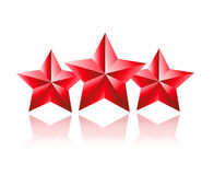 Trzy gwiazdowy 3D czerwień Obrazy Royalty Free