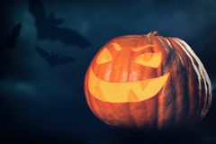 Trzy Halloween Jack O ` lampionu bani Fotografia Stock