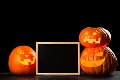 Trzy Halloween Jack O ` lampionu bani Zdjęcie Royalty Free