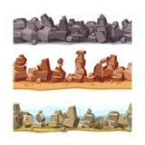 Trzy horyzontalnego bezszwowego skalisty, góra krajobraz dla gemowego interfejsu użytkownika Wektorowy kreskówki ilustraci set ilustracja wektor