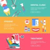 Trzy horyzontalnego sztandaru medycyny pojęcie Stomatologiczni obrazki wiertniczy zęby Medyczni akcesoria dentysta royalty ilustracja