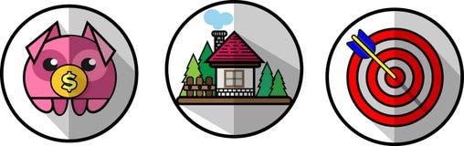 Trzy icons8 wektorowy mieszkanie ilustracja wektor