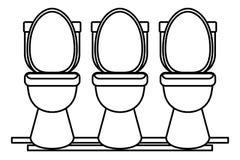 Trzy ikony toaletowa sanitarna kreskówka w czarny i biały ilustracja wektor