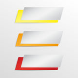 Trzy infographics sztandar Kolor żółty, pomarańcze, czerwień również zwrócić corel ilustracji wektora Fotografia Royalty Free