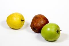Trzy jabłka na stosie na białym tle Obraz Royalty Free