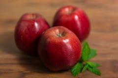 Trzy jabłka zamykają up Obraz Stock