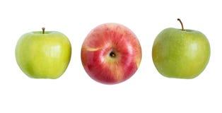 Trzy jabłko w białym tle Zdjęcie Stock