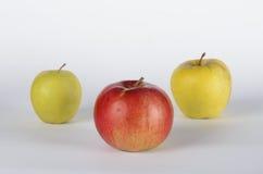 trzy jabłka Zdjęcia Royalty Free