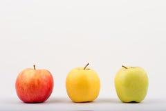 trzy jabłka Obrazy Stock