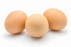 Trzy jajka odizolowywającego na białym tle Zdjęcie Royalty Free