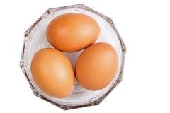 Trzy jajka odizolowywającego na białym tle Zdjęcia Royalty Free