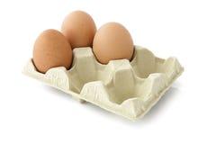 Trzy jajka w pakunku fotografia stock
