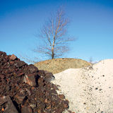 trzy kamienie domów kolorowych nago wielo- drzewo. Obrazy Royalty Free