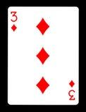 Trzy Karowy karta do gry, Zdjęcia Royalty Free