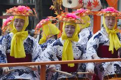Trzy kobiety przy Nagoya festiwalem, Japonia obrazy stock