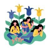 Trzy kobiety używają smartphone również zwrócić corel ilustracji wektora royalty ilustracja